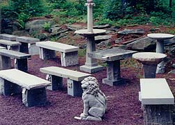 carved limestone garden ornaments and benches