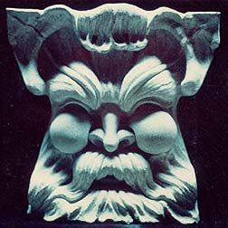 Carved Greenman with leaves