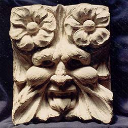 Carved Limestone Greenman with flowers