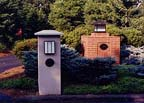 sculpted limestone mailboxes