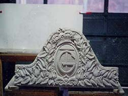 Custom carved keystone