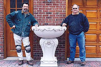 stone carved garden planter