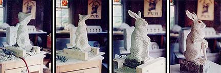 Stone carving process, from stone to sculpture